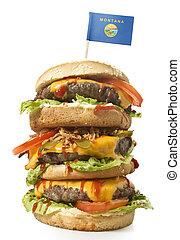 sabroso, xxl, hamburguesa, con, el, bandera, de, montana.(series)