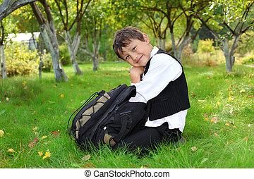 sac à dos, écolier, dehors