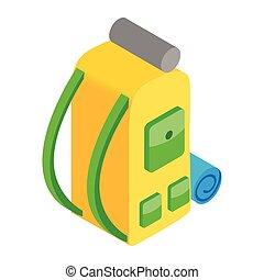 sac à dos, 3d, isométrique, icône