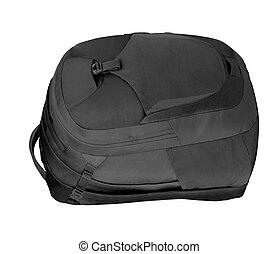 sac à dos, blanc, noir, isolé, fond