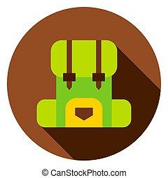 sac à dos, cercle, camping, icône