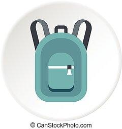 sac à dos, cercle, icône