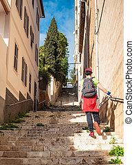 sac à dos, chapeau, rue, vieux, promenade, ville, girl