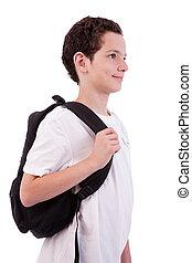 sac à dos, coup, isolé, studio, tenue, blanc, écolier