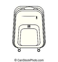 sac à dos, image, conception, plat, icône