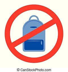 sac à dos, jean, prohibition, signe, fond, blanc, icône