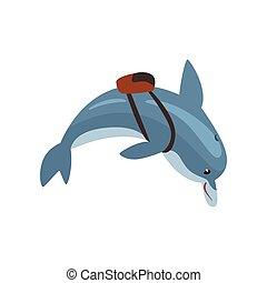 sac à dos, mer, dauphin, caractère, illustration, vecteur, animal, dessin animé, natation