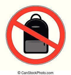 sac à dos, prohibition, signe, fond, blanc, icône