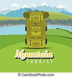 sac à dos, sur, colline, à, montagne, et, lac, paysage., plat, et, solide, couleur, style, vector.