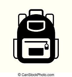 sac à dos, vecteur, icône