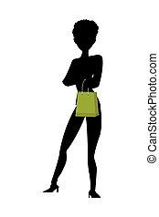 sac à provisions, femme, silhouette, tenue