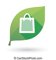 sac à provisions, feuille, vert, icône