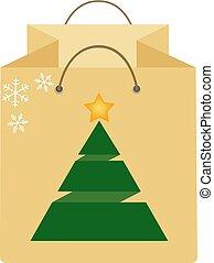 sac à provisions, isolé, arrière-plan., arbre., noël blanc