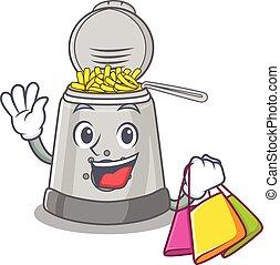 sac à provisions, onduler, friteuse, tenue, profond, amical...