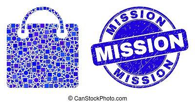 sac à provisions, timbre, bleu, détresse, mission, mosaïque