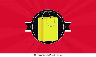 sac à provisions, vente, papier, animation