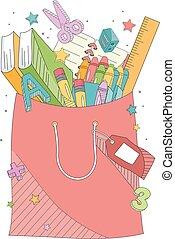 sac, école, achats, illustration, fournitures