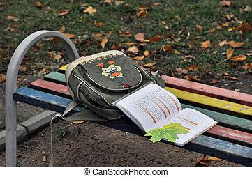 sac, école, manuel