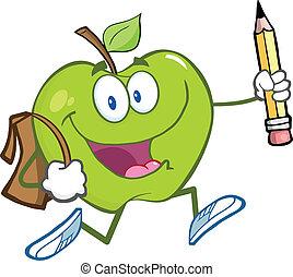 sac, école, pomme verte, heureux
