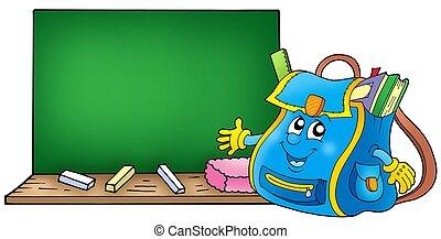 sac, école, tableau noir