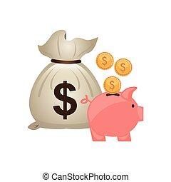 sac, économie, argent, icône