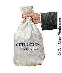 sac, économies, retraite