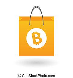 sac, achats, bitcoin, icône