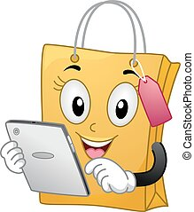 sac, achats, chèque, tablette, mascotte