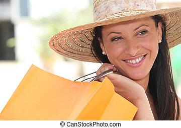 sac, achats femme, tenue