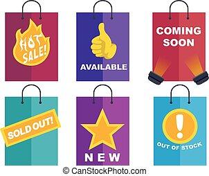 sac, achats, icônes