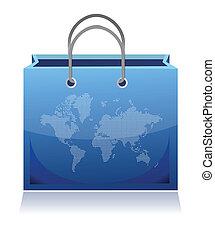 sac, achats, mondiale, tracé