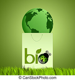 sac, achats, produit, biologique