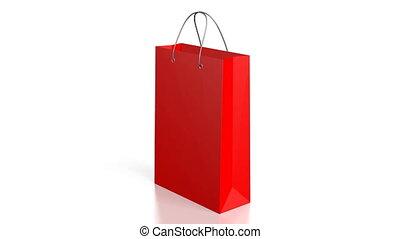 sac, achats, rouges, 3d