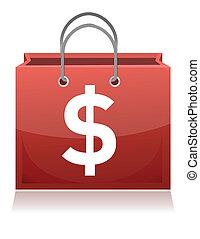 sac, achats, signe dollar