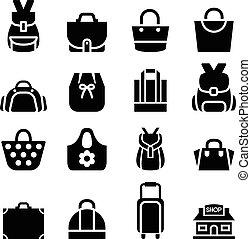 sac, achats, silhouette, icône