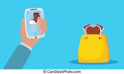 sac, achats, technologie, ligne, smartphone