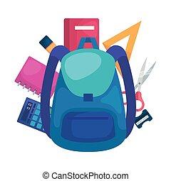 sac, approvisionnements école, icônes