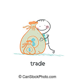sac, argent, étreindre, commercer