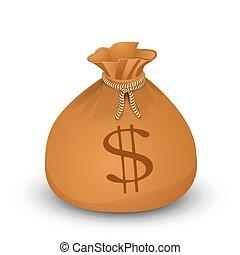 sac argent, dollars.