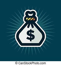 sac, argent, icône