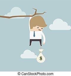 sac, argent, pendre, homme affaires