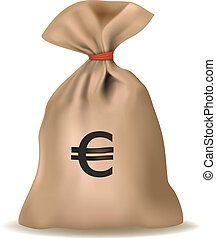 sac, argent, vector., euro.
