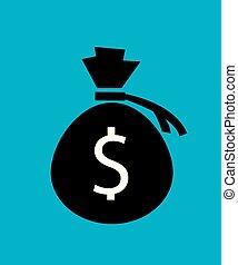 sac argent, vector., icône
