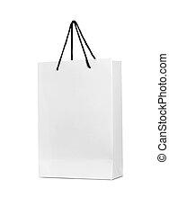 sac, blanc, achats, fond