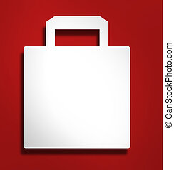 sac, blanc, achats, illustration