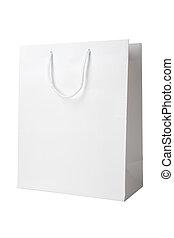 sac, blanc, achats