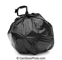 sac, blanc, arrière-plan noir, déchets