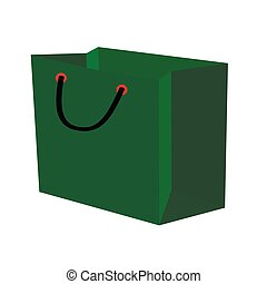 sac, blanc, arrière-plan vert, cadeau