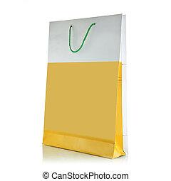 sac, blanc, papier, achats, fond