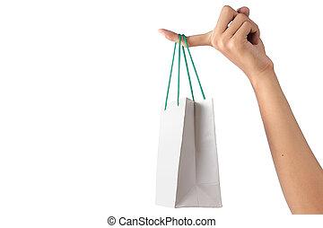 sac, blanc, papier, tenant main